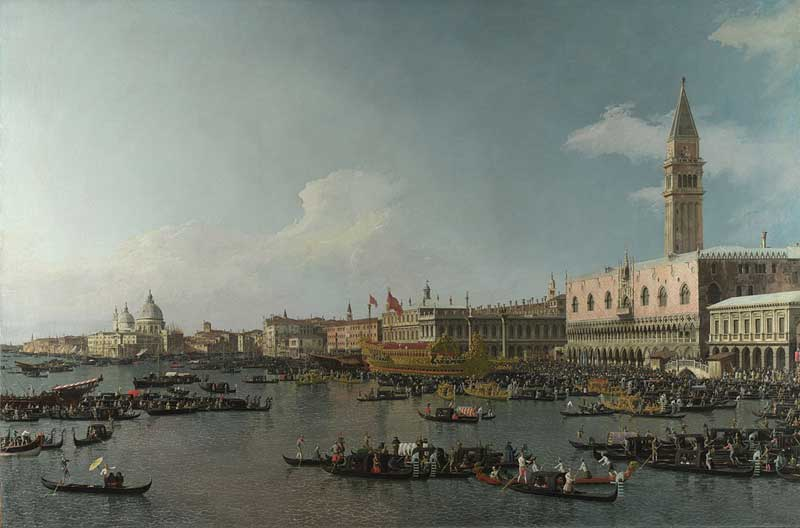 Boats and crowds on the Basin of San Marco by Canaletto