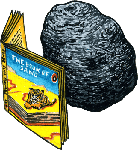 A rock floats in space reading a book about sand.